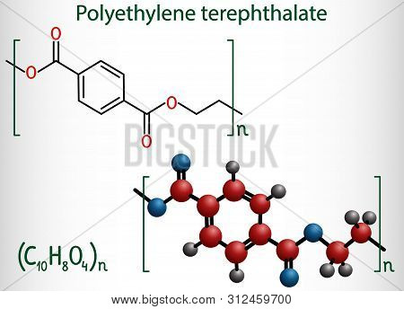 Polyethylene Terephthalate Or Pet, Pete Polyester, Thermoplastic Polymer Molecule. Structural Chemic