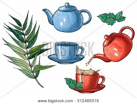 Tea Set. Pouring Tea Into A Cup From A Tea Pot With A Splash. Hand Drawn Illustration Of Tea Pot And
