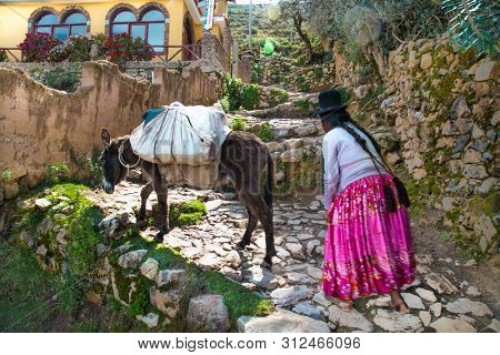 Isla del Sol  , Bolivia - Jan 4, 2019: Unidentified old woman with her donkey in traditional outfit on Isla del Sol  Island . Bolivia.