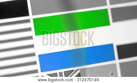 Sierra Leone National Flag Of Country. Sierra Leone Flag On The Display, A Digital Moire Effect. New