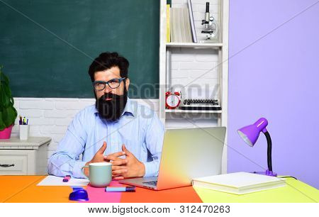 High School Concept. Teacher Is Skilled Leader. Learning And Education. Exam In College. Male Studen