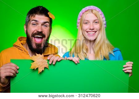 Happy Couple Holds Black Friday Sale Banner. Autumn Sales. Fashion Trends For Fall. Season Sales, Au