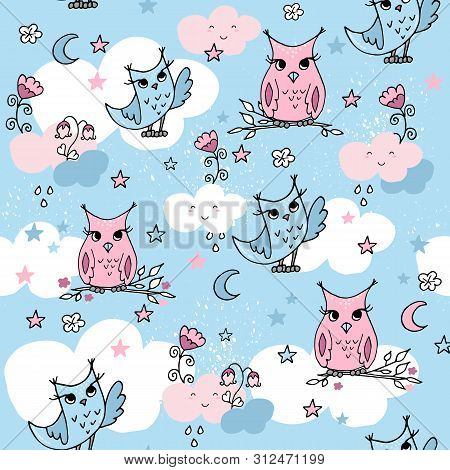 Cute Seamless Pattern With Cartoon Clouds And Owls On Blue Background.