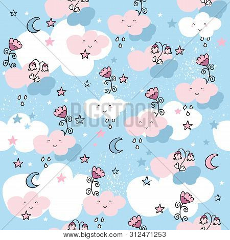 Cute Seamless Pattern With Cartoon Clouds And Flowers On Blue Background.