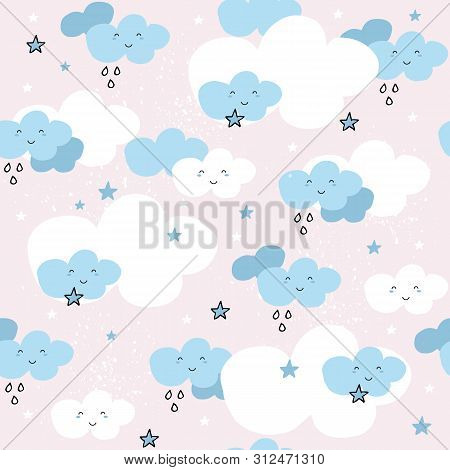 Cute Seamless Pattern With Cartoon Clouds And Stars On Pink Background.