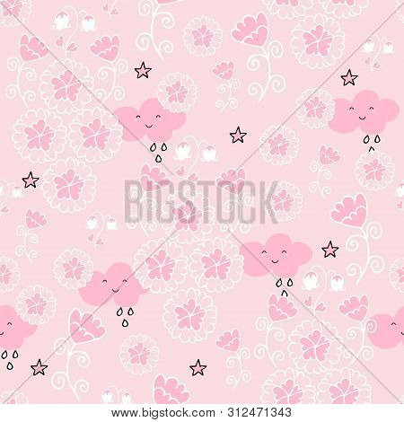 Cute Seamless Pattern With Flowers And Owls On Baby Pink Background.