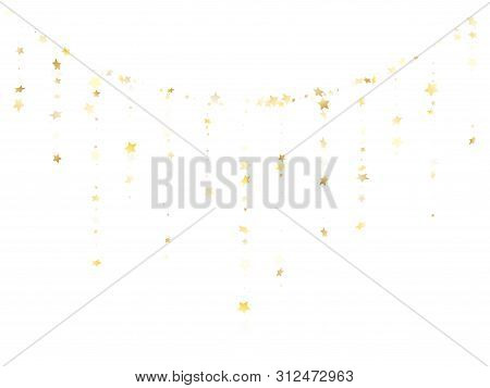 Flying Gold Star Sparkle Vector With White Background. Light Gold Gradient Christmas Sparkles Glitte