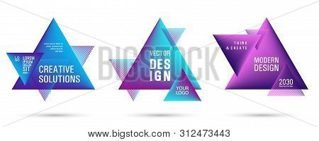 Gradient Color Triangle Banners With Halftone Patterns On White Background. Vector Triangular Geomet