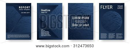 Booklet design vector layouts set. Dark blue and black waves texture. Fluid buzzing wavy noise ripple texture. Corporate finance book cover. Cool booklet vector cover templates design. poster