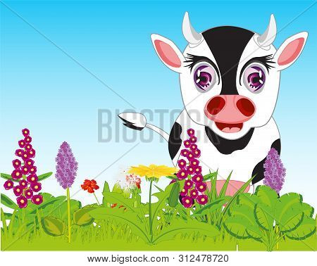 Vector Illustration Year Glade With Green Plants And Animal Cow