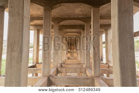 Hampi, India July 8, 2019 : Abandoned And Disused Bridges Near Hampi, India.