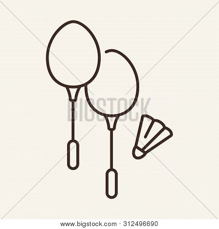 Badminton Line Icon. Racket, Battledore, Shuttlecock. Sport Concept. Vector Illustration Can Be Used