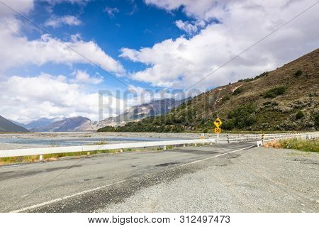 An image of a dramatic landscape scenery Arthur's pass in south New Zealand