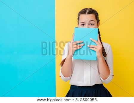 Portrait Of A Schoolgirl In Glasses With Books Textbooks On A Yellow Blue Background In The Studio.