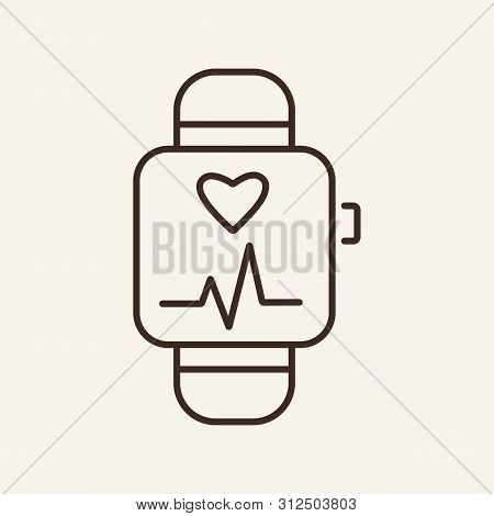 Sport Watch Line Icon. Calories, Exercise, Control. Sport Concept. Vector Illustration Can Be Used F