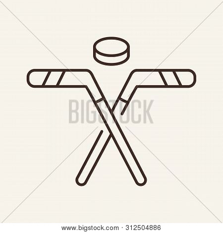 Ice Hockey Line Icon. Bandy, Puck, Game. Sport Concept. Vector Illustration Can Be Used For Topics L