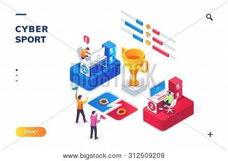 Cybersport arena with gamers, isometric view. Online game tournament in player vs player format. Fans at cyber sport competition, winner cup. E-sport web landing page for smartphone. Competition poster