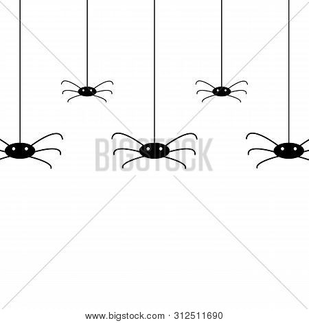 Vector Isolated Pattern With Hanging Spiders For Decoration And Covering On White Background.