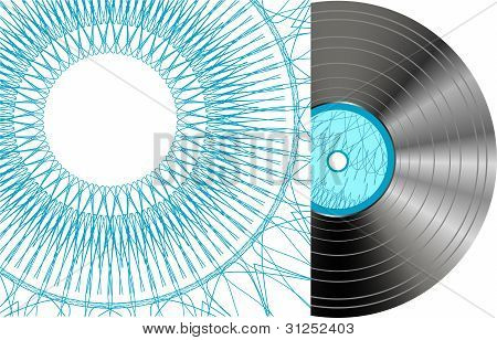 Black vinyl disc with abstract cover