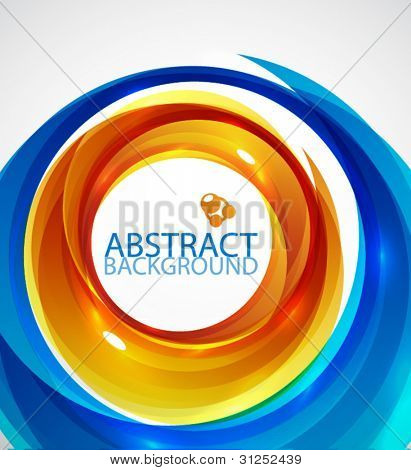 Abstract hi-tech circle background in orange and blue colors