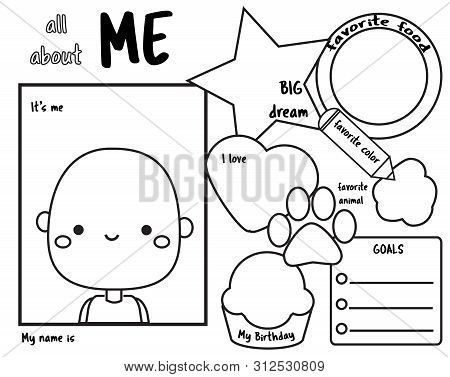 All About Me. Writing Prompt For Kids Blank. Educational Children Page.
