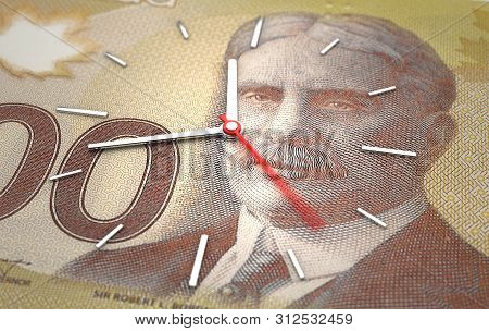 Time And Canadian Dollar. Time Is Money Concept (3d Rendering)
