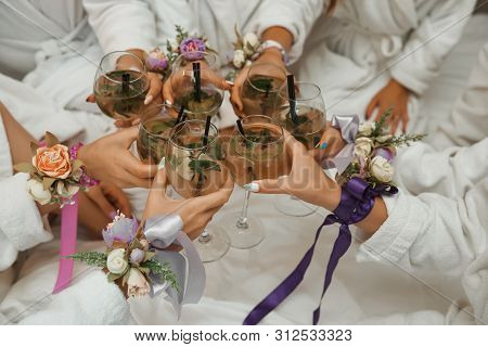 Party At The Hotel With Champagne. Cheerful Bachelorette Party.