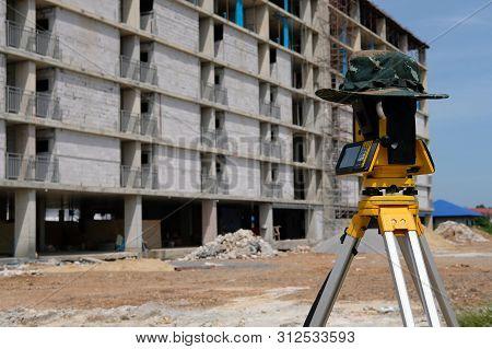 Tacheometer For Land Surveyor. Theodolite Equipment For Geodetic Survey