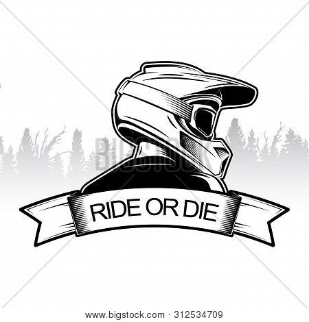 Extreme Sport Logo Design. Motocross Downhill Mountain Biking Logo Template. Side View Of Man With I