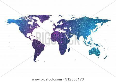 Global Network Connection Plexus Particle World Map. World Map Point And Line Composition Concept Ve