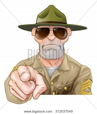 An Angry Looking Cartoon Army Boot Camp Drill Sergeant Pointing