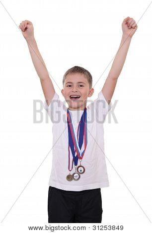 Happy Boy With Medals