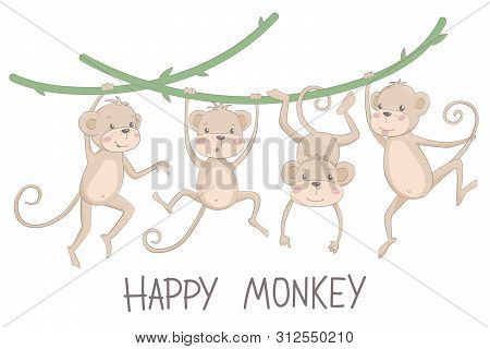 Cute Monkeys. Jungle Of Wild Animals, Small Little Monkeys, Playing Vector Characters In Various Pos