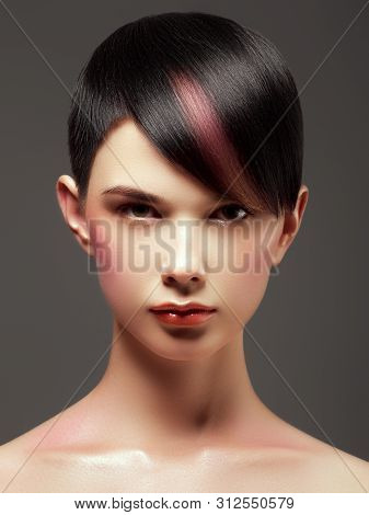Hair Salon. Trendy Hair Style. Short Haircut. Hairdressing. Fashion And Beauty Concept. Portrait Of