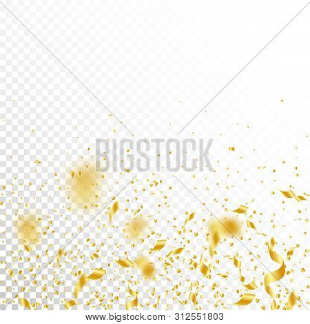 Streamers And Confetti. Gold Tinsel And Foil Ribbons. Confetti Gradient On White Transparent Backgro