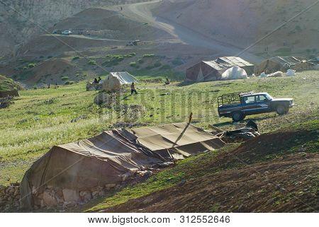 Circa Isfahan, Iran - June 22, 2007: Bakhtiari Nomadic People Camp At Sunset Circa Isfahan, Iran. So