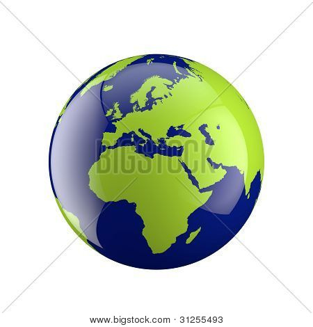 Three Dimensional Globe With Europe And Africa