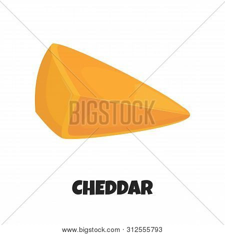 Vector Realistic Illustration Of Triangular Piece Of Cheddar Cheese Close Up Isolated On White Backg