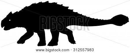 Ankylosaurus Dinosaur Black Vector Silhouette Clip Art Image