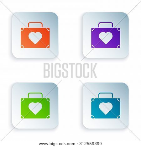 Color Suitcase For Travel With Heart Icon Isolated On White Background. Honeymoon Symbol. Traveling
