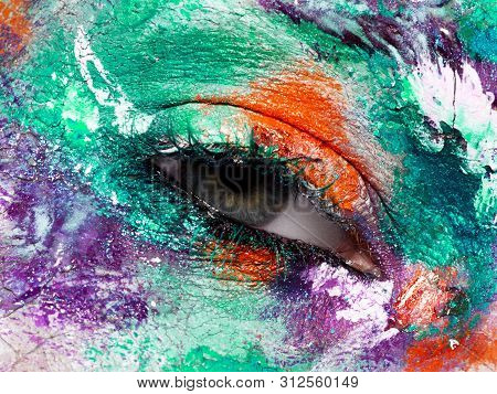 Beauty, Cosmetics And Makeup. Magic Eyes Look With Bright Creative Make-up. Macro Shot Of Beautiful