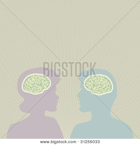 Thinking people brains, vector concept
