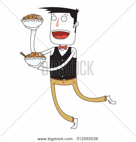 Illustration Of A Waiter Bring Some Bowls Of Noodles