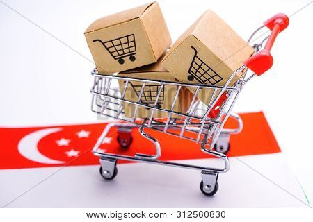 Box With Shopping Cart Logo And Turkey Flag : Import Export Shopping Online Or Ecommerce Delivery Se