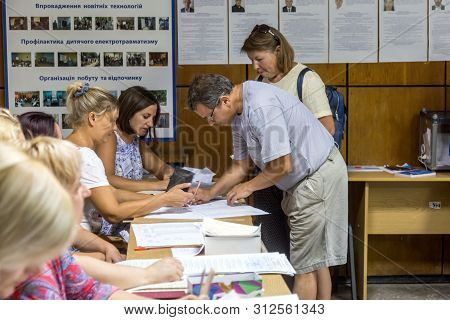 Odessa, Ukraine - July 21, 2019: Elections In Ukraine. Place For People Voting By Voters In National