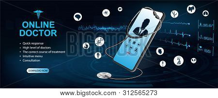 Concept Of Telemedicine And E-health. Doctor Online. Consultation With The Doctor Through The Screen