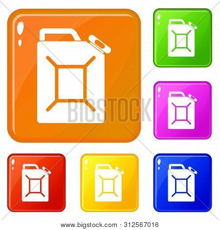 Fuel Jerrycan Icons Set Collection Vector 6 Color Isolated On White Background