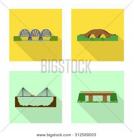 Isolated Object Of Bridgework And Bridge Symbol. Collection Of Bridgework And Landmark Stock Vector