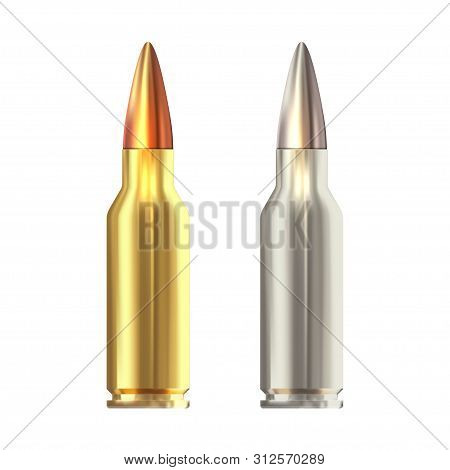 Realistic Vector Rifle Bullets Islated On White Background. Shiny Rifle Bullets.