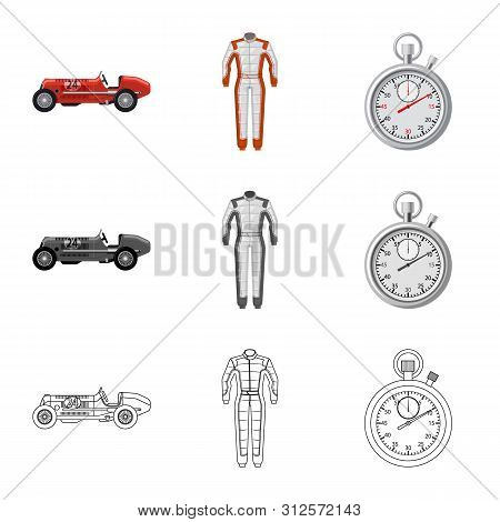 Isolated Object Of Car And Rally Symbol. Collection Of Car And Race Stock Vector Illustration.